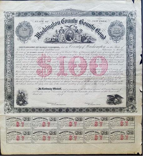 BOND – STATE OF NEW YORK WASHINGTON COUNTY $100 BOND 1864