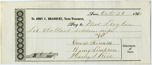 CIVIL WAR - RELIEF FUND RECEIPT SOLDIERS WIFE -9TH ME INFANTRY