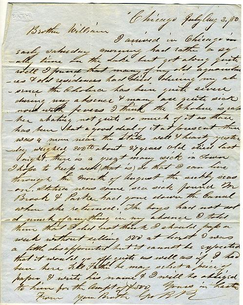 1850 CHICAGO - CHOLERA EPIDEMIC LETTER