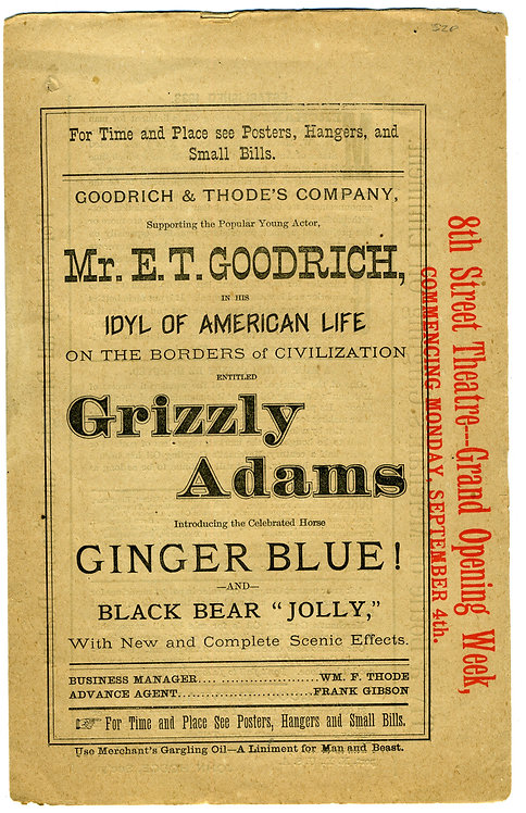 GRIZZLY ADAMS –THEATER - PROGRAM
