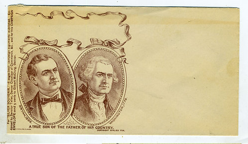 POLITICAL – 1896 WILLIAM JENNINGS BRYAN  ENVELOPE W/PART OF CROSS OF GOLD SPEECH