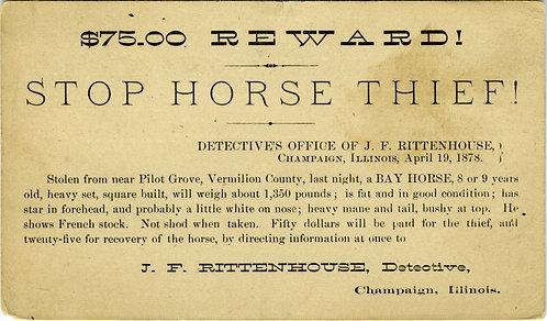 POSTCARD – REWARD - STOP HORSE THIEF! 1911.