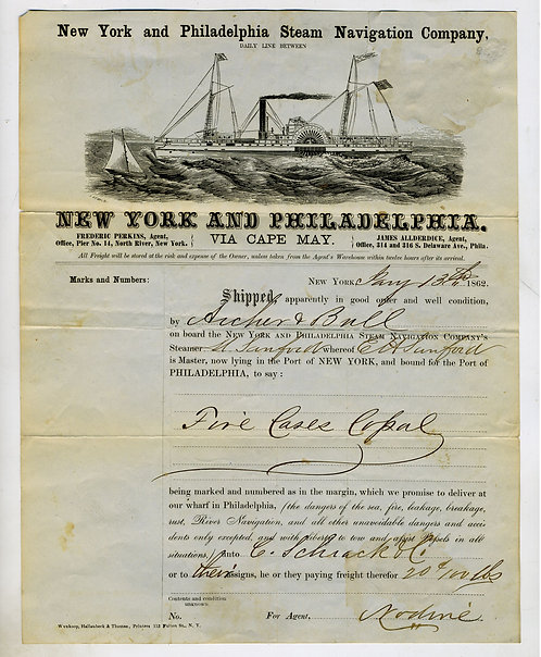 NEW YORK AND PHILADELPHIA  STEAM NAVIGATION CO. BILL OF LADING  – NICE STEAMSHIP