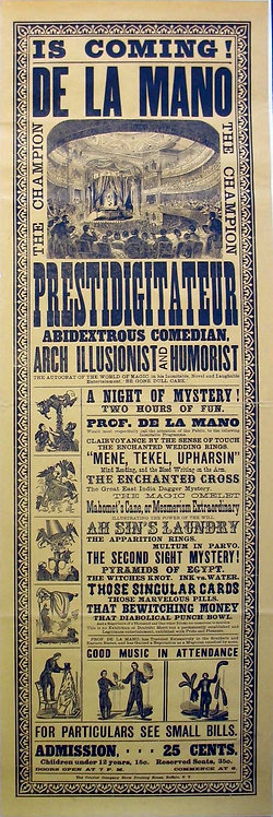 DE LA MANO MAGICIAN - LARGE GRAPHIC POSTER- CA. 1880