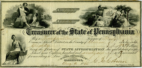 TREASURER OF THE STATE OF PENNSYLVANIA 1866 GREAT GRAPHIC APPEAL.
