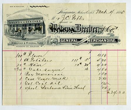 ARIZONA TERRITORY -  KINGMAN ILLUSTRATED BILLHEAD - 1886.