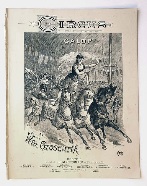 SHEET MUSIC – CIRCUS GALOP 1883 – FEMALE TRICK RIDER- LITHOGRAPH COVER