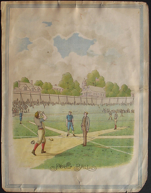 SPORTS – BASEBALL - 19th c. LITHO – FOUL BALL - OUR NATIONAL GAME -1887