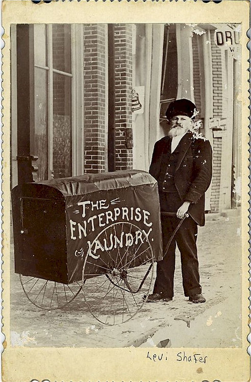 OCCUPATIONAL – CABINET CARD - MAN WITH LAUNDRY CART