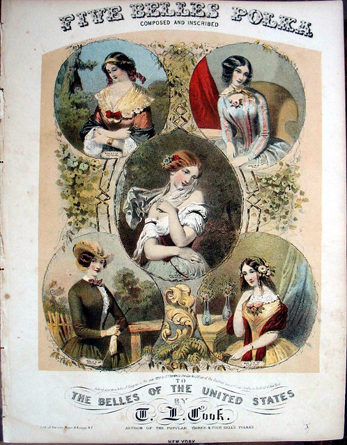 SHEET MUSIC – FIVE BELLES POLKA, 1856 – BEAUTIFUL CHROMOLITHOGRAPHIC COVER