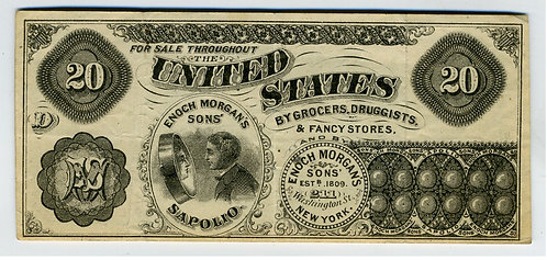 CURRENCY – ADVERTISING  - ENOCH MORGAN' SONS SAPOLIO POLISH CLEANER -PRIVATE NOT