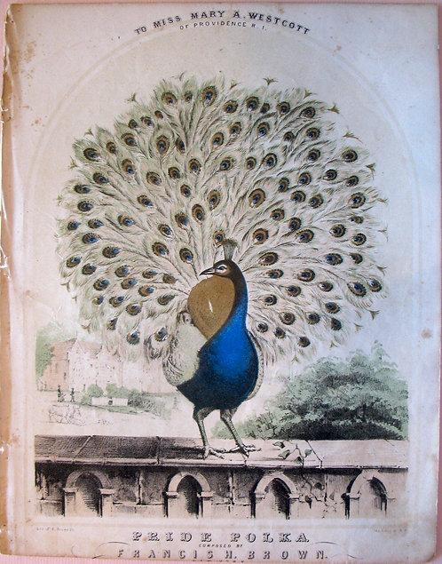SHEET MUSIC –PRIDE POLKA – 1850 CHROMOLITHOGRAPH COVER.