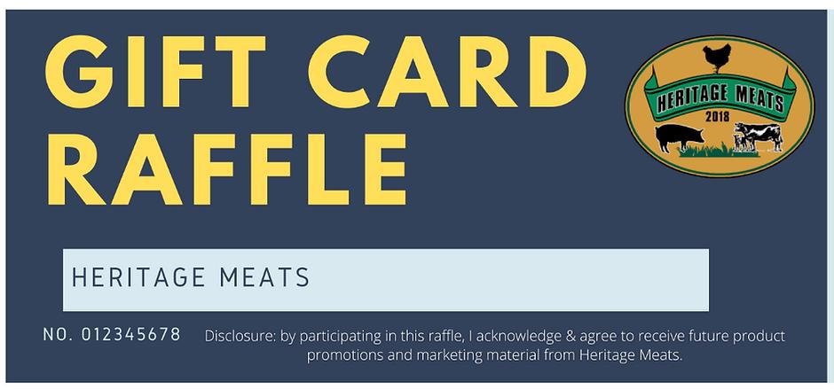 Gift Card Raffle Heritage Meats