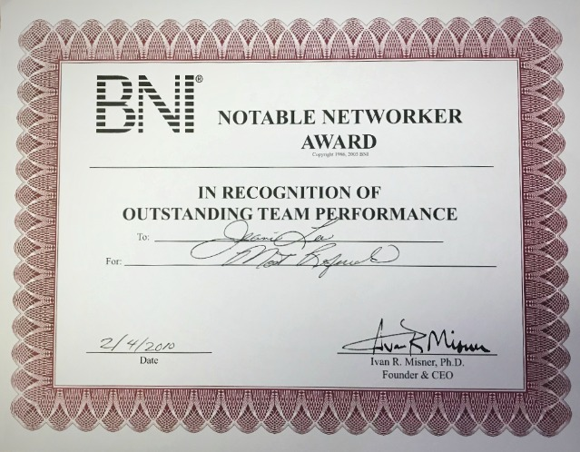 BNI Notable Networker Award