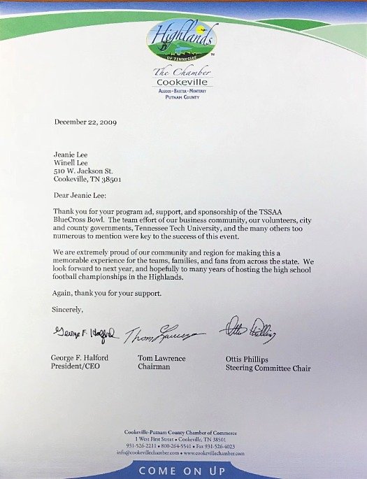 Highlands Chamber Letter