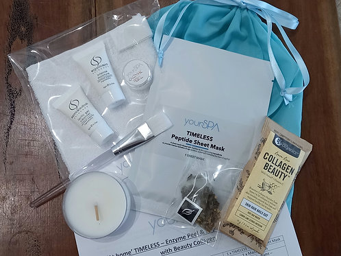 'At home' TIMELESS - Enzyme Peel & Peptide Facial mini kit with Beauty Collagen