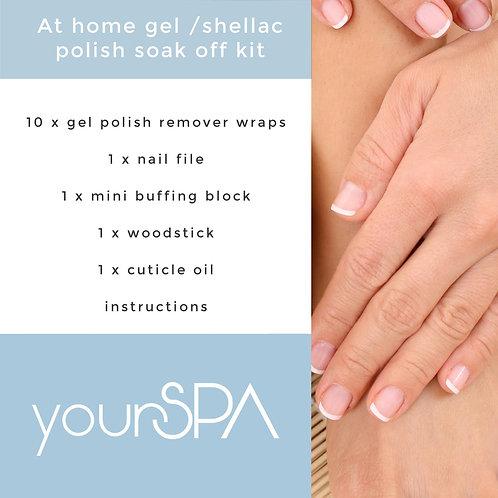 At home gel/shellac polish soak off kit