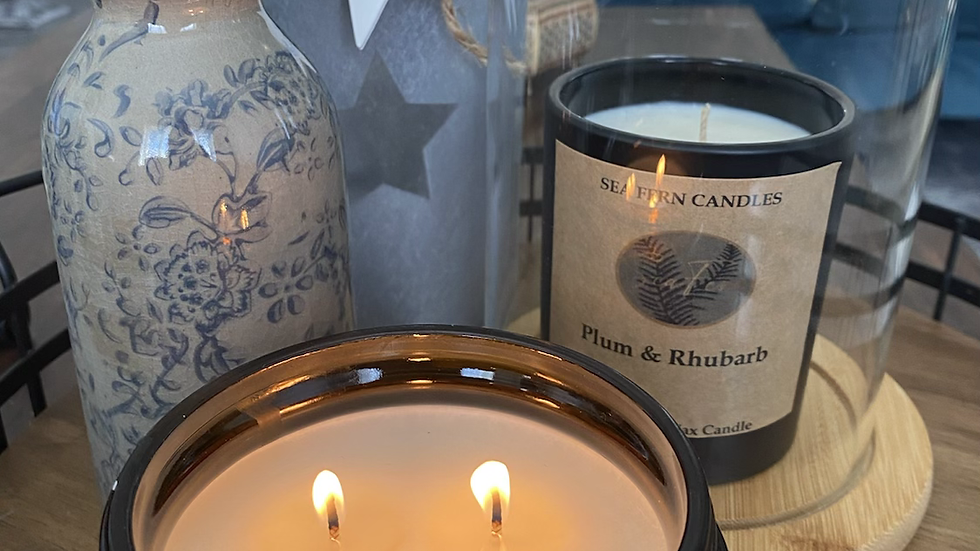 Natural Plant- Based Wax - 3 Wick Amber Candle