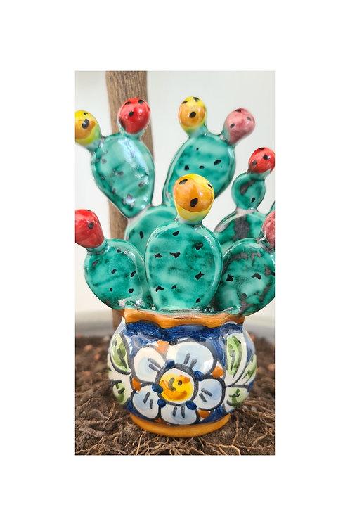 Sicilian Ceramic Cactus plant with Prickly Pear.