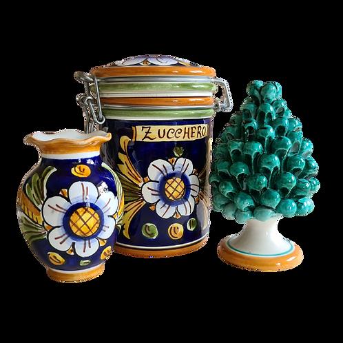 Trio with Pinecone, vase and Sugar Pot