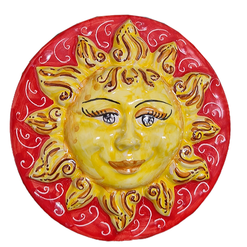 Handmade ceramic sun to hang - Diameter 20cm