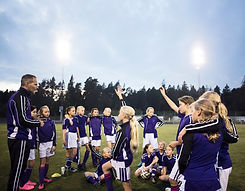 Girls Soccer Team with Coach