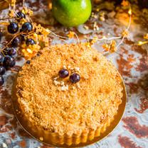 Crumble noix de coco, pommes et raisins au cidre