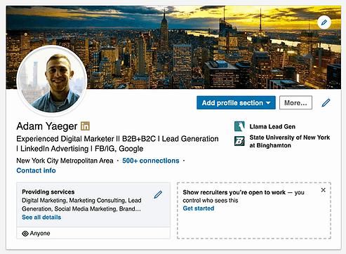Linkedin profile example screenshot