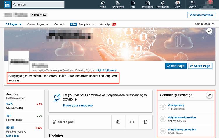 Screenshot examples of Linkedin page optimizations