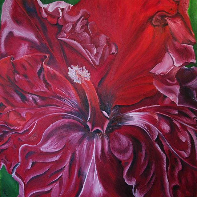 Wilting hibiscus flower oil painting