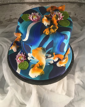 Koi & Water Lilies Cake