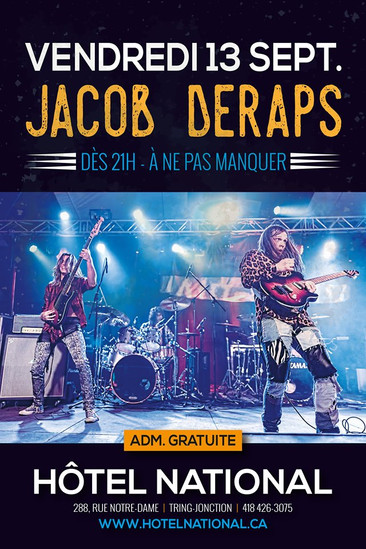 Vendredi 13 septembre - 21h Jacob Deraps avec le batteur Australien Josh Gallagher
