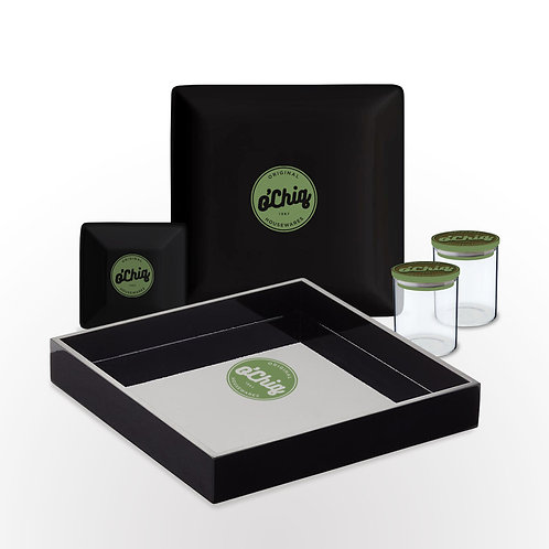"O'Chiq ""Insignia"" Herbal Tray Set in Black"