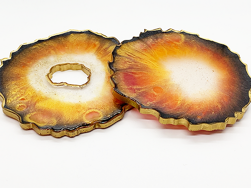 """HAUS by St. LZRE """"Resin Geode"""" Coasters in Orange Hues"""