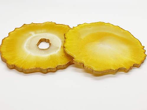 """HAUS by St. LZRE """"Resin Geode"""" Coasters in Yellow Hues"""