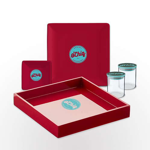"O'Chiq ""Insignia"" Herbal Tray Set in Red"