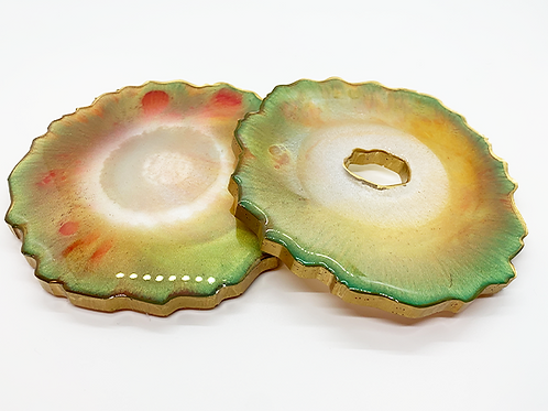 """HAUS by St. LZRE """"Resin Geode"""" Coasters in Green Hues"""