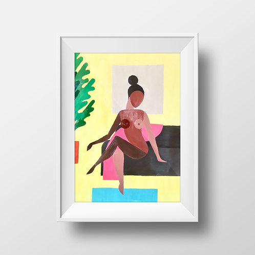 """Woman Reclining on Couch w/ Plant"" Print by @brylando"