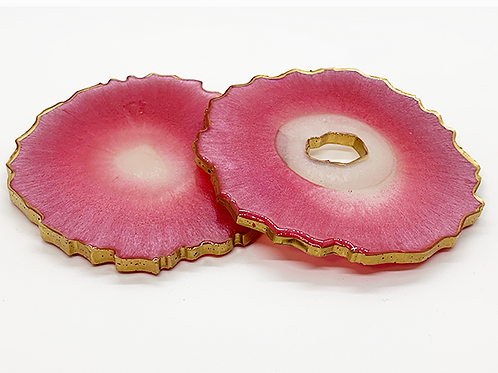 "HAUS by St. LZRE ""Resin Geode"" Coasters in Red Hues"
