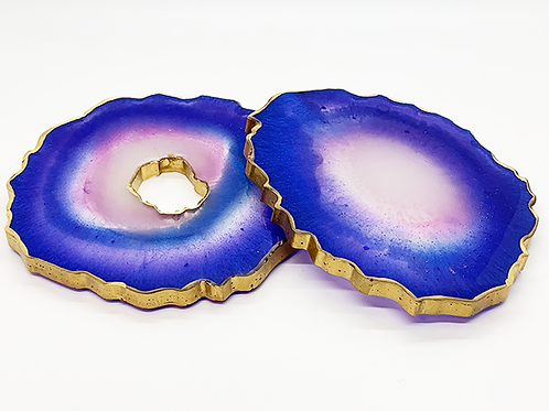 """HAUS by St. LZRE """"Resin Geode"""" Coasters in Indigo Hues"""