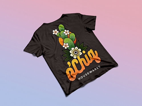 "O'Chiq ""Prickly Pear"" Tee in Black"