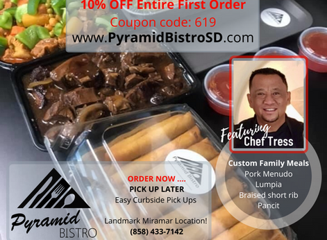 Pyramid Bistro with Chef Tress Now Serving Custom Family Meals