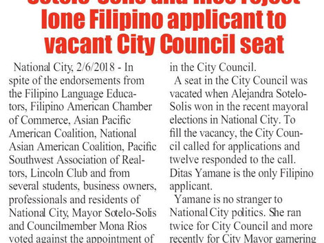 National City Mayor Sotelo-Solis & Rios Reject Lone FilAm Applicant to Vacant City Council Seat