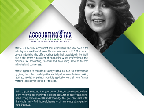 Tax Seminar - How To Read Your Tax Return & 199A Deduction