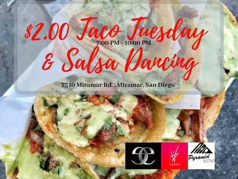 Taco's & Salsa ...dancing! $2.00 Tacos All Night Long at Pyramid Bistro (Miramar, San Diego)