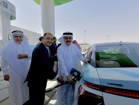 SAUDI SUSTAINABILITY - WORLD'S BIGGEST PETROLEUM PRODUCER OPENS IT'S FIRST HYDROGEN FUELING STATION