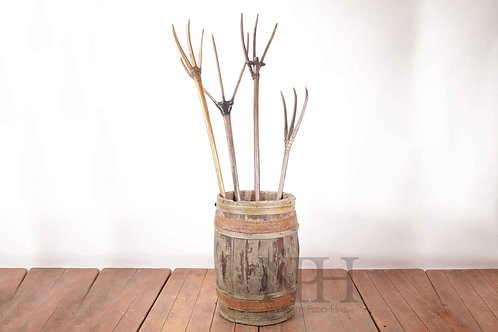 Wooden hay pitch fork