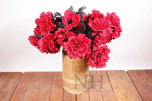 Rose display in wooden barrel