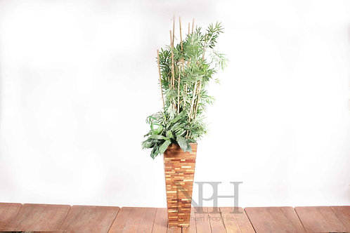 Bamboo in wooden urn