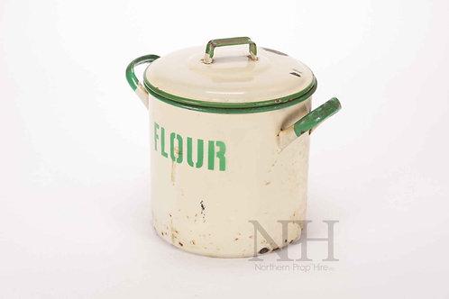 Enamel flour bin